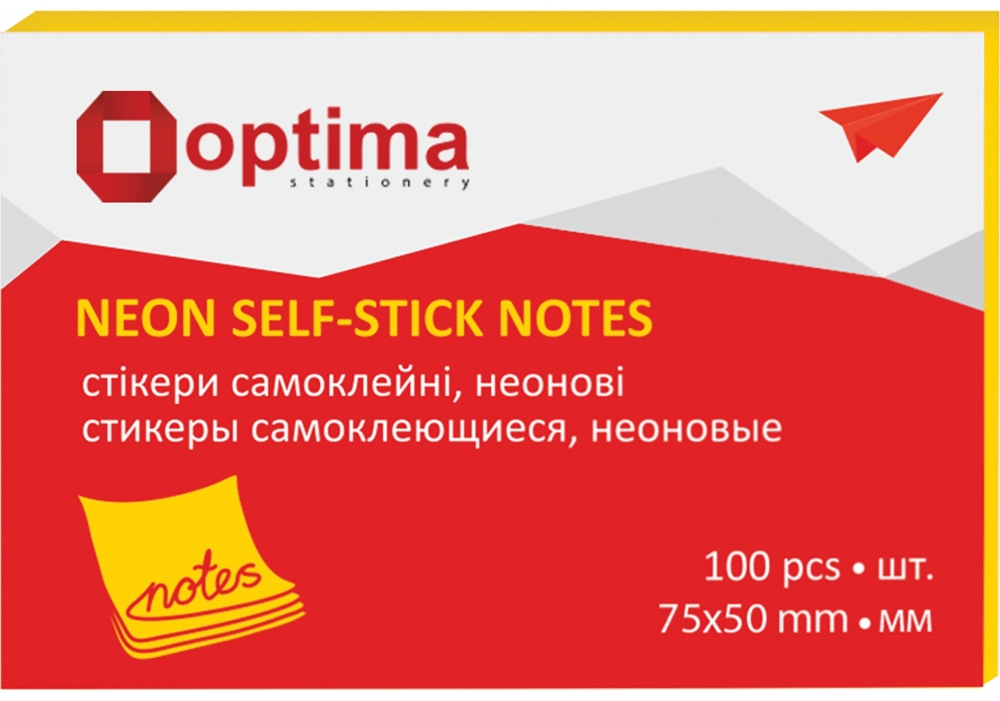 Купить Стикеры Optima, 75х50, желтые неон , 100 л., $Цена Стикеры Optima, 75х50, желтые неон , 100 л. ⚡Интернет магазин Папирус