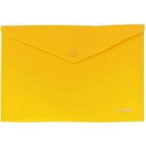 Папка- конверт А4 непрозрачная на кнопке, желтая, диагональ