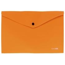 Папка-конверт А4 непрозрачная на кнопке диагональ, оранжевая