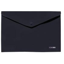 Папка- конверт А4 непрозрачная на кнопке, черная, диагональ