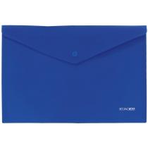 Папка-конверт А4 непрозрачная на кнопке, синяя, диагональ
