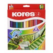 Карандаши цветные акварельные, треугольные, 3 мм, по чинкою и кисточкой, 24шт.