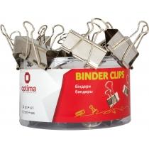Биндеры для бумаги 41 мм Optima, хромированные, в пласт. тубусе, 24 шт.