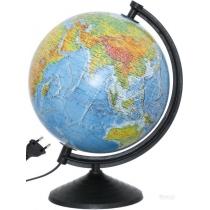 Глобус фізичний/політичний лакований з подвійною картою, з підсвічуванням, пластикова підставка