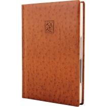 Ежедневник датированный 2020, OSTRICH, коричневый, кремовый блок, А5
