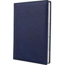 Ежедневник датированный 2020, натуральная кожа, синий, кремовый блок, А5