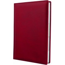 Ежедневник датированный 2020, натуральная кожа, красный, кремовый блок, А5
