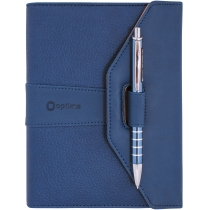Бизнес-организатор с ручкой, 135 * 185 мм, на кольцах, синий, с ручкой, бумага 80 г/м2, кремовый