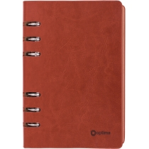 Бизнес-организатор, 135 * 185 мм, на кольцах, коричневый, бумага 80 г/м2, кремовый