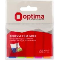 Стикеры-закладки Optima, 45х12, 5 цветов, 100 шт.