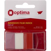 Стікери-закладки Optima, 45х25, червоні, 50 шт.