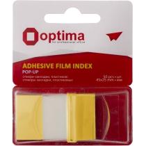 Стікери-закладки Optima, 45х25, жовті, 50 шт.