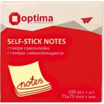 Стікери Optima, 75x75, жовті пастель, 100 арк.
