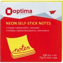 Стикеры Optima, 75x75, желтые неон , 100 л.