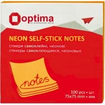 Стикеры Optima, 75x75, оранжевые неон, 100 л.