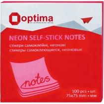 Стикеры Optima, 75x75, малиновые неон, 100 л.