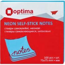 Стикеры Optima, 75x75, синие неон, 100 л.