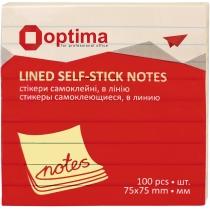 Стикеры Optima, в линию 76x76, желтые пастель, 100 л.