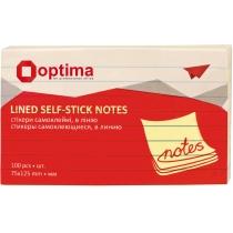 Стикеры Optima, в линию 75x125, желтые пастель, 100 л.