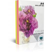 Бумага цветная SINAR SPECTRA, Rainbow Pack Cyber , А4, 75 г/м2, 250 л, неон,  5 цветов