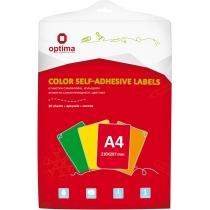 Етикетки самоклеючі, червоні, А4, 20 арк/пач, на аркуші 1шт.
