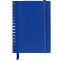 Блокнот карманный А6 - пластиковая обложка, боковая спираль, на резинке с карманчиком и закладкой