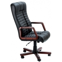 Крісло ATLANT EXTRA, LE-A, з елементами шкіри, чорне, Україна