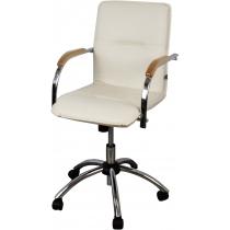 Кресло SAMBA GTP V-18 1.031, иск. кожа, бежевый, метал. хром. база, дерев. подлок.