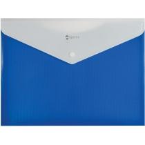 Папка-конверт А4 на кнопке с расширением, ПОЛОСА, синяя