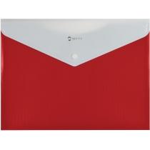 Папка-конверт А4 на кнопке с расширением, ПОЛОСА, красная