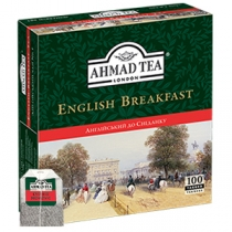 Чай Ahmad Tea, Англійський до сніданку, чорний, 100х2г в пакетиках з ярликом