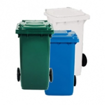 Контейнер пластиковый с колесами серо-зеленый 120 л