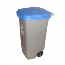 Контейнер пластиковый с колесами, серо-синий 100 л