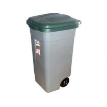 Контейнер пластиковый с колесами серо-зеленый 100 л