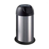 Ведро 40л с поворотной крышкой, металлическое, серебристо-черное