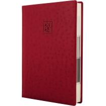 Ежедневник датированный 2020, OSTRICH, красный, кремовый блок, А5