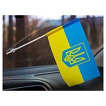 Флаг Украины сине-желтый, на присоске 10*20