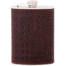 Фляга з нержавіючої сталі, 240мл, покриття - шкірзамінник, імітація зміїної шкіри, колір коричневий