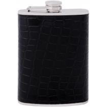 Фляга з нержавіючої сталі, 240мл, покриття - шкірзамінник, імітація зміїної шкіри, колір чорний