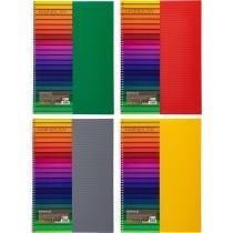"""Блокнот """"Rainbow"""", А4, 80 л., кл., ассорти, боковая спираль (желтый, зеленый, синий, серый, красный)"""