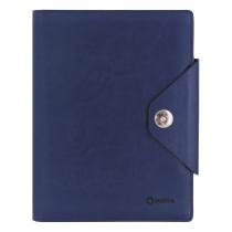 Бизнес -организатор на кнопке 135х185 мм, на кольцах, синий, бумага 80 г/м2, кремовая
