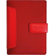 Бизнес-организатор с вставками из искусственной кожи, 135 *185 мм, на кольцах, красный, бумага 80 г/