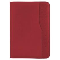 Бизнес-организатор на молнии, 135 *185 мм, на кольцах, красный, бумага 80 г/м2, кремовый