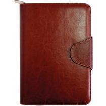 Бізнес-організатор на блискавці та на застібці , 184*260 мм, на кільцях, коричневий, папір 80 г/м2,