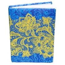 """Щоденник недатований, А5,""""Мереживо"""", білий блок, 3 кольори, блакитний з жовтими квітами"""