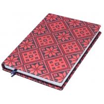 """Щоденник недатований, А5,""""Орнамент"""", білий блок, 2 кольори, червоний з чорним"""