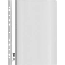 Папка-скоросшиватель с прозрачным верхом А4 с перфорацией, глянец, белый
