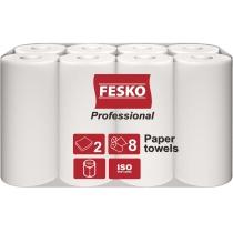 Полотенца бумажные 2 слоя Fesko Professional, 8 рулонов, по 12,5 м, белые