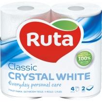 Бумага туалетная 2 слоя Ruta Classic 4 рулона, белая