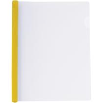 Папка А4 пластиковая с планкой-прижимом 65 л, желтая